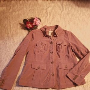 Pink casual button up fitted jacket